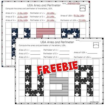 Area and Perimeter Worksheet  FREEBIE