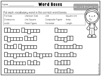 Area and Perimeter Vocabulary Cards and Word Work Activities