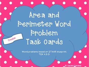 Area and Perimeter Word Problem Task Cards