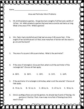 Selective image within area and perimeter word problems 4th grade printable