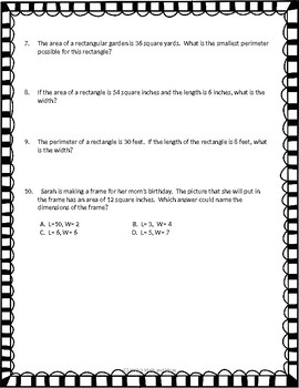 Area and Perimeter Word Problems- 4th Grade