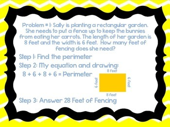 Area and Perimeter Word Problems PowerPoint with Perimeter and Area Worksheet