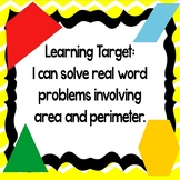 Areas and Perimeters Word Problems PowerPoint with Perimeter and Area Worksheet