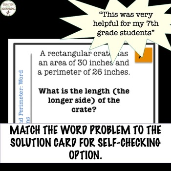Area and Perimeter Word Problems Practice and Review Task Card Activity