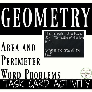 Area and Perimeter Word Problems Practice and Review Task