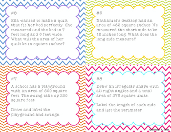 Area and Perimeter Word Problems Task Cards