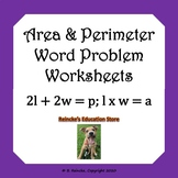 Area and Perimeter Word Problems Worksheets