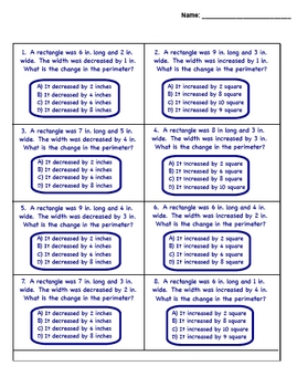 Area and Perimeter Worksheet (Test Prep-Change in Area and Per.)