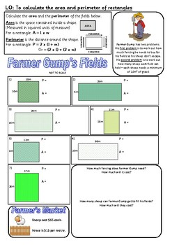 Area and Perimeter Worksheet including problem solving & money