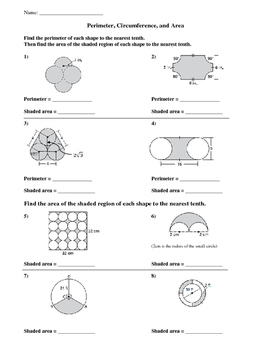 Area and Perimeter of Composite Figures Worksheet with ...