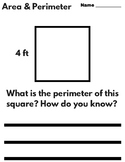 Area and Perimeter - Writing Prompts (Test Practice!)