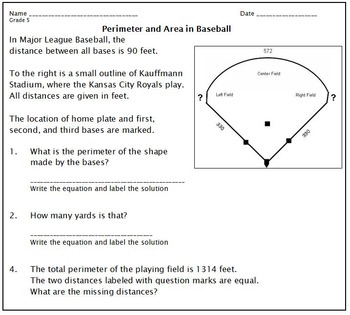 Area and Perimeter at the World Series, 2014:  Grades 3-5
