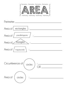 Area and Perimeter note taking sheet