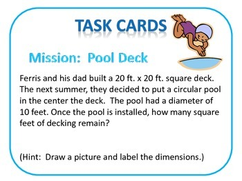 Area and Perimeter of Circles: Task Cards CCSS 7.G.4