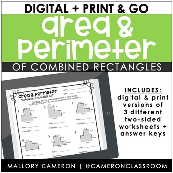 Area and Perimeter of Combined Rectangles by Mallory Cameron | TpT