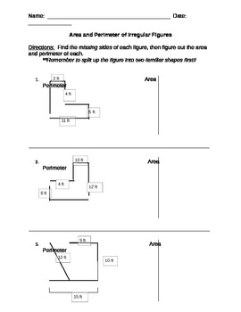 Area and Perimeter of Irregular Figures 2