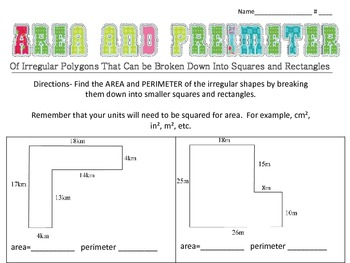 Area and Perimeter of Irregular Polygons (made of squares/rectangles)
