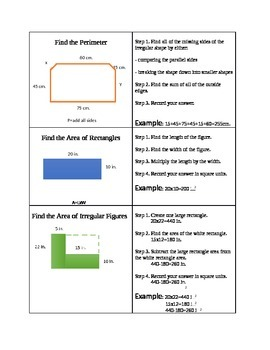Area and Perimeter of Irregular Shapes Graphic Organizer