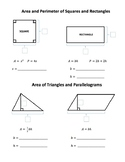Area and Perimeter of Polygons - Fill in the Blank Guide