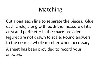Area and Perimeter of Polygons Matching Activity