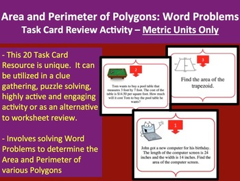 Area and Perimeter of Polygons Word Problem Task Card REVIEW GAME-METRIC VERSION