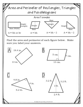 Area and Perimeter of Quadrilaterals, Circles and Irregular Shapes Stations