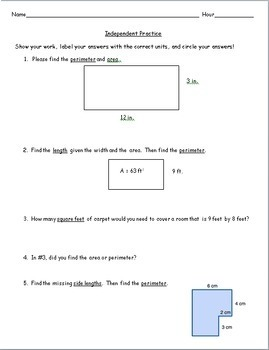 6th Grade Geometry - Area and Perimeter of Rectangles