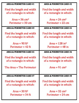Area and Perimeter of Rectangles Activity and Task Cards