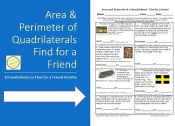 Area and Perimeter of Rectangles - Find for a Friend Activ