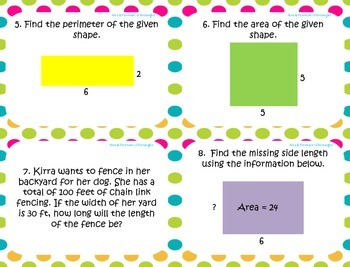 Area and Perimeter of Rectangles Task Cards ~Aligned to CCSS 4.MD.3