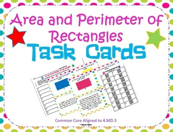 Area and Perimeter of Rectangles Task Cards ~Aligned to CC