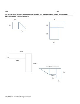 Area and Perimeter of Rectangles, Triangles and Compound Figures