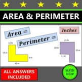 Area and Perimeter of Rectangles – (inches) – Review – math – test prep
