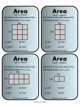 Area and Perimeter of Rectangles and Squares Activity Task Cards (Imperial)