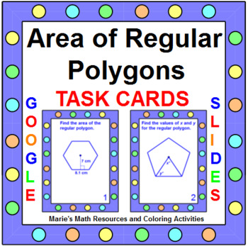Area and Perimeter of Regular Polygons - TASK Cards (20 cards)