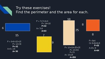 Area and Perimeter of Squares and Rectangles