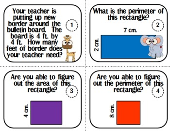 Area and Perimeter of a Rectangle Task Cards