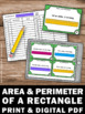 Area and Perimeter Task Cards, Area of a Rectangle, 4th Grade Math Review Games