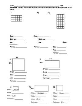 Area and Perimeter or missing side lengths  of a Rectangle