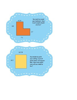Area and Perimeter with Decimals Task Cards
