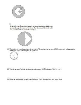 Area and Perimeter Test Review