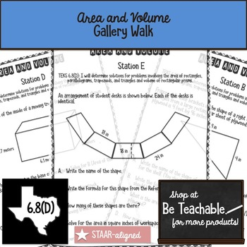 Area and Volume Gallery Walk (STAAR Test Prep / 6.8D)