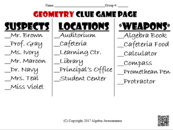 Relationships within Triangles -Centroid, circumcenter,... Geometry Clue Review