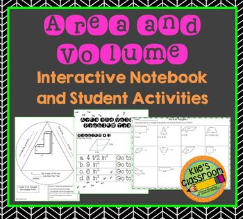 Area and Volume Interactive Notebook Set - Notes, Exit Slip, Practice, and Game