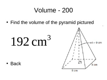 Area and Volume Jeopardy