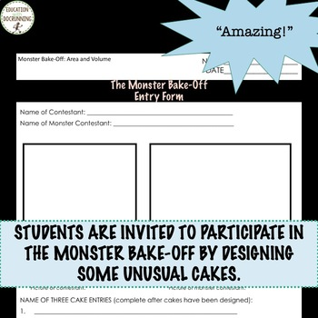 Area and Volume Monster Bake-Off Project