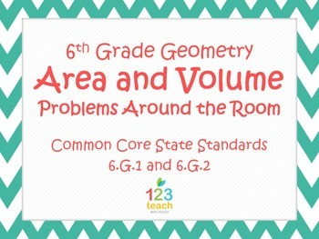 Area and Volume Task Cards Activity for Common Core 6.G.1 and 6.G.2