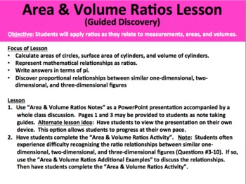 Area and Volume Ratios Activity