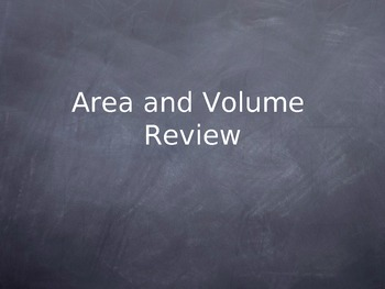 Area and Volume Review or Gameday