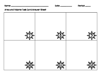 Area and Volume Task Cards